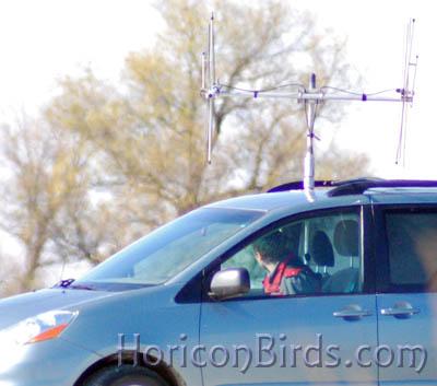 Van 'listening' for whooping crane signal