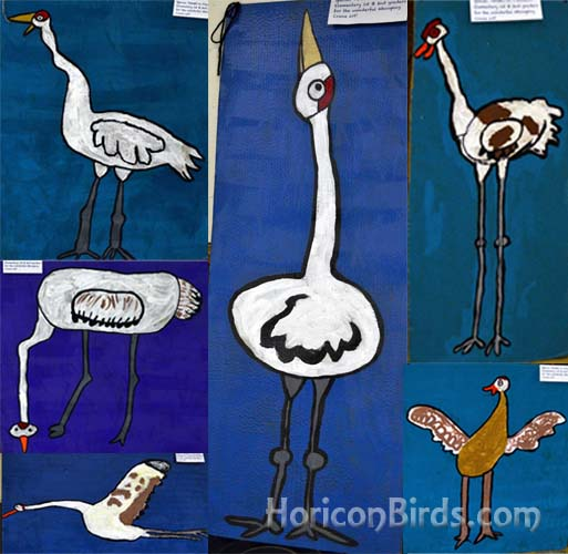 Princeton Elementary student art on display at the Whooping Crane Festival.  Photographs by Pam Rotella.